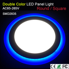 LED Downlight Panel Light 6W 9W 16W 24W 3 Model Round Square Double Color AC85-265V Warm white Blue color Indoor Lighting Bulb(China)