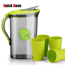 QuickDone 1.5L Large Capacity Kettel Heat Resistant Cold Kettle 3colors Water Tea Juice Milk Pot PP Jug Kitchen Supplies CKB04(China)