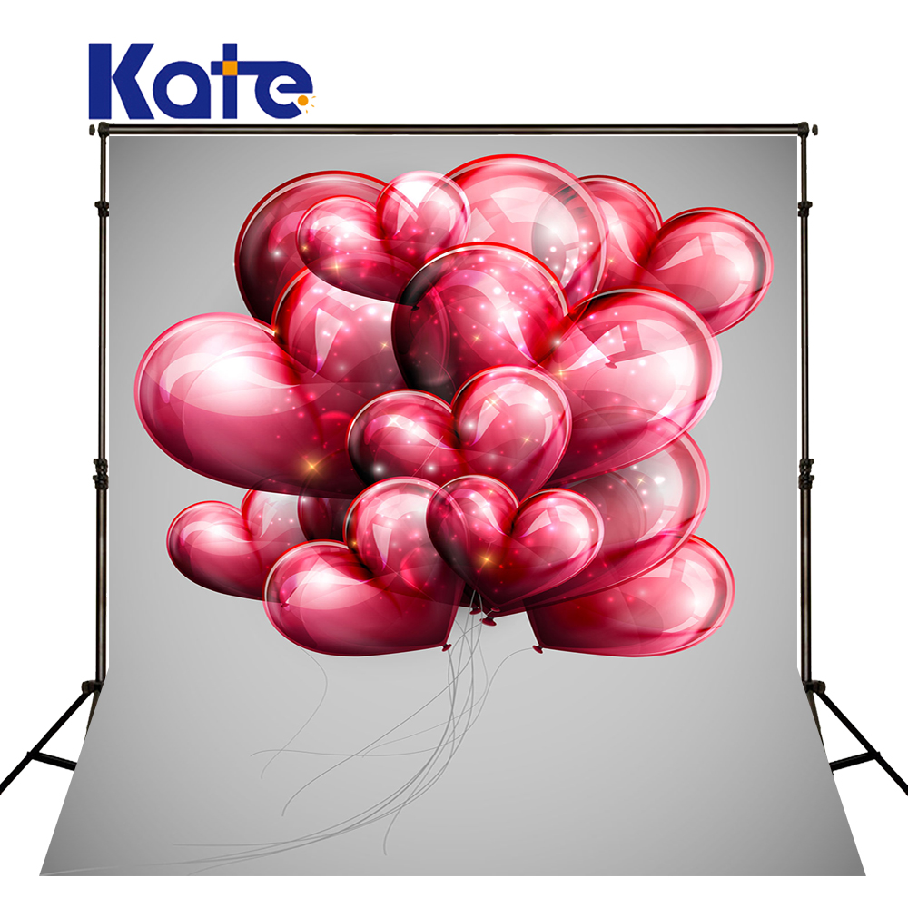 5x7ft Kate Valentine Photography Backdrops Red Love Red Balloon Photo Background for Couple Or Birthday Studio Backdrop<br>