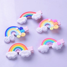 Beautiful Rainbow Hairpin Children Hair Accessories Fimo Series Baby Side Clip Factory Direct Girl Gifts