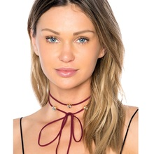 Handmade Red Leather Suede Wrap Choker Necklace Perfume Women Long Lace-up Choker 2017 Gothic Brand Jewelry(China)