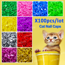 100pcs /lot Cat nail Caps soft cat paw Control Pets Silicon Nail Protector free glue and applicator(China)