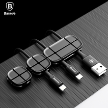 Baseus Cable Winder Flexible Silicone USB Cable Organizer Wire Cord Management Cable Clip Holder For Mouse Headphone Earphone(China)