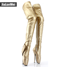 Women boots 18cm High Heel patent leather over the knee Ballet boots for women Fetish sexy Crotch long boots Pole dance boots(China)
