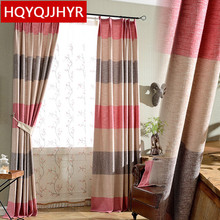 2016 Chinese striped cotton and linen printing shade curtains for the living room bedroom kitchen bay window Customized products(China)