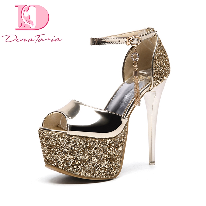 DoraTasia 2018 High Quality Plus Size 33-48 Thin High Heels Buckle Strap Woman Shoes Peep Toe Platform Women Pumps Shoes<br>