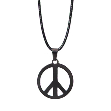 Fashion Jewelry Stainless Steel Hamsa Fatima Hand Peace Sign Charm Pendants Leather Rope Chain Necklaces For Femme Accessories(China)