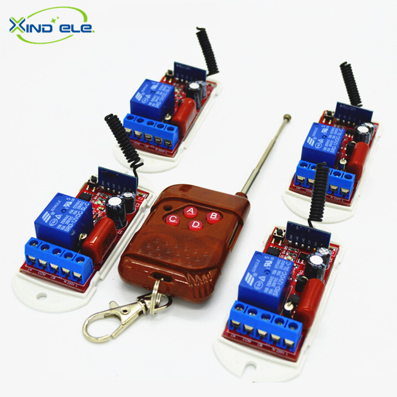 XIND ELE 4pcs Wireless Remote Control Light Switch AC110V-220V 4-key 315mhz Transmitter For Home Automation #RF220-1L-315-4+PW4#<br><br>Aliexpress