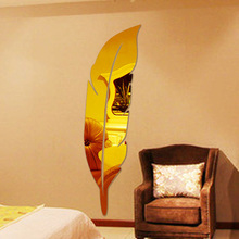 New arrival Feather dressing mirror 3d three-dimensional wall stickers Acrylic mirror decoration console mirror(China)