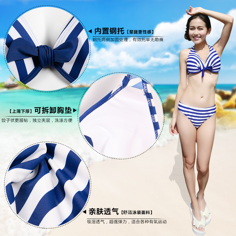2017 Summer Swimwear female sexy Bikini Set Push up floral beach swimsuit with Vest and shorts Retro Bathing suits<br>