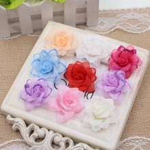 10PCS 4.5cm artificial roses gauze head wedding shoes headdress wreath decorated DIY craft gift clip artificial flowers