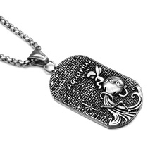 HIP Punk 12 Zodiac Sign Men Aquarius Charm Necklaces & Pendants Solid Casting Stainless Steel Dog Tags Necklace for Men Jewelry