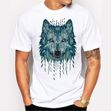 2017 New Arrival Cool Geometric Wolf Men's Fashion T shirt Popular Tops Short Sleeve Hipster Tees(China)
