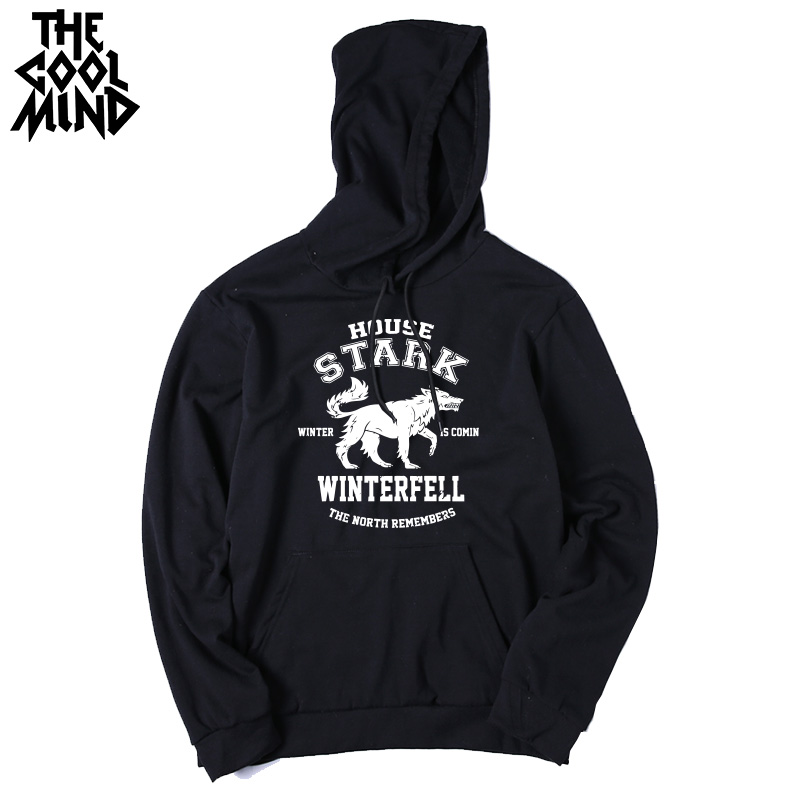 THE COOLMIND Top quality cotton blend game of thrones men hoodies casual winter is coming house of stark men sweatshirt with hat 7