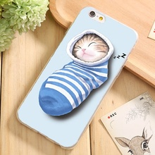 For iPhone6S Soft TPU Case Cover For Apple iPhone 6 6S Cases Phone Shell Wonderful Funny Sleep Cat Thick Lips Odd Girl Silicon