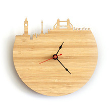 Minimalist 30cm Art Natural Wood Wall Clock Map Design England London City Silhouette Geometric Shape Silently Decor Home Clock(China)