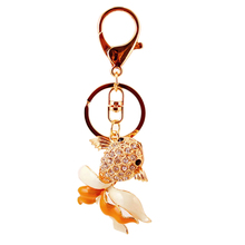 Hot Sale Charm Crystal Keychain goldfish Key Holder Rhinestone  Keyfob Fish Pendant Women Jewelry badges DM#6