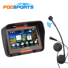 Bluetooth Headset+Fodsports 4.3 Inch Waterproof Motorcycle GPS Navigator 8GB Flash 256 RAM Motorbike Navigation With Free Maps