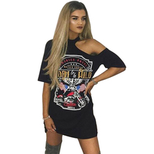Punk Rock Style 2017 Summer New Fashion Casual Print Women Dress Sexy Off Shoulder Mini Short T Shirt Dress Ladies Dresses