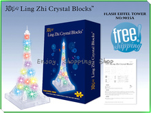 DIY Eiffel Tower with light 3d crystal puzzle jigsaw model building puzzles educational toys for children brinquedos educativos(China)