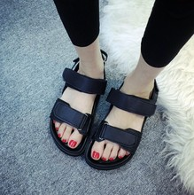 Famous brand simple wild black white summer sandal shoes for woman Hook & Loop casual PU wedge shoes size 35-39