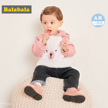 Balabala Baby Girl Boy 100% Cotton Lined Hooded Sweatshirt with Fleece Infant Newborn Baby Pull-over Hoodie Ribbed Cuffs and Hem(China)