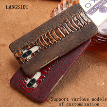 LANGSIDI Case For HTC E8 case Genuine Leather Back Cover Luxury Ostrich Foot Skin Texture Top Layer Cowhide Cover(China)