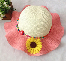 Children Girl Cute Straw Hat  Flower Sunbonnet  Travlling Beach Outdoor Cap