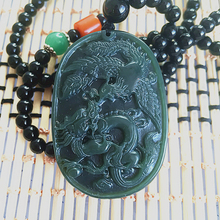 Drop Shipping Fine carving 100% jewelry Green HETIAN JadePendant Carved  Dragon Phoenix Pendant Necklace Lover's Jewelry