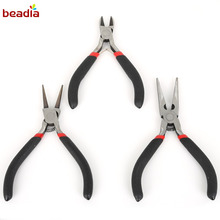 Factory Price 3pc/bag Black Color Handle Pliers Sharp nose &Double round &Diagonal pliers For DIY Jewelry Making Pliers Tool(China)