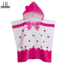 MICHLEY Children's Towels 2017 Baby Girls Cartoon Hooded Bathrobe Kids Pink Cotton Bathe Blanket Infant Dots Beach Towels YE0028(China)