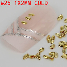 Wholesale New Marquise Shaped 2x1mm 3D 300pcs Metal Nais Art Decoration Gold/Silver Horse Eye Nail Art Metallic Studs Sticker
