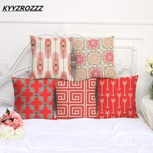 KYYZROZZZ Red Geometry Decorative Throw Pillows Case Linen for Sofa Car Cotton Cushion Cover Creative Decoration 45X45cm