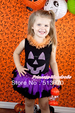 Halloween Black Baby Pettitop Orange Chiffon Lacing & Sparkle Glitter Pumpkin Dark Purple Feather Newborn Pettiskirt MANG1248