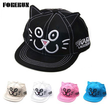 2016 New Baby Hat Cat Embrodiery Animal Cartoon Kids Baseball Hat Ears Baby Boy Sun Hat Summer Cotton Snapback Caps Girls Visors(China)