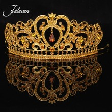 New Gold Bridal Tiaras Crown King Queen Bride Crowns Crystal Rhinestone Prom Pageant Wedding Hair Accessories Headpiece Headband