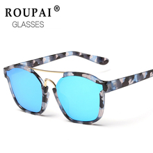 ROUPAI Unisex fashion vintage Square flower Sunglasses women men brand designer cool Mirror coating Sun Glasses shades CJ818