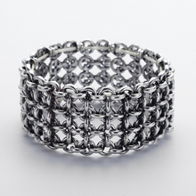 Free drop shipping Antique silver chain twisted square ladies elastic Bracelet women jewelry(China)