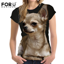 FORUDESIGNS Chihuahua Basic T Shirt Women T-shirts O Neck Breathable Women Casual Shirt Tops 3D Dog Elastic Slim Feminine Cloth(China)