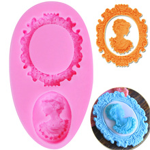 M224 1pc Silicone Cake Mold 3D Retro Picture Frame Woman Head Sugarcraft Chocolate Christmas Fondant Cake Decorating 9.1*4.8*1cm