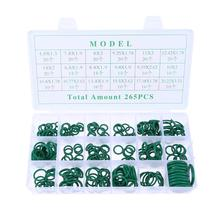 265Pcs/Box 18 Sizes Assortment Kit Car HNBR Air Conditioning O Ring Seals Set Automobiles Sealing Rings w/ Plastic Case Green