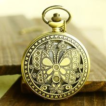 (DH080)  Vintage Bronze BUTTERFLY Pocket Watch Necklace, Dia 4.7.cm, 12pcs/lot, Free shipping