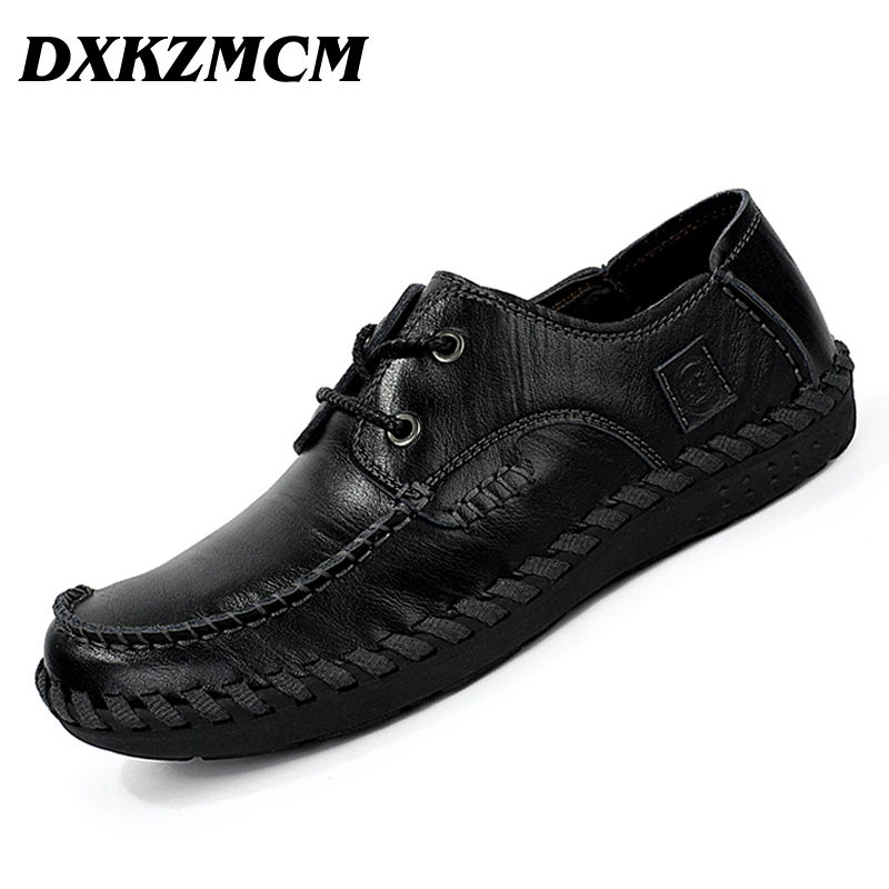 DXKZMCM New Arrival Men Cow Leather Shoes Breathable Handmade Genuine Leather Men Casual Shoes<br>