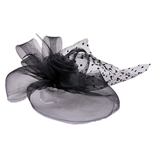SAF-Pink wedding 25CM black fascinator hair barrette