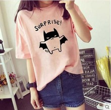 girls printed tops teenage years 2016 summer short sleeve children t-shirt cute animal cartoon t-shirt candy color white pink