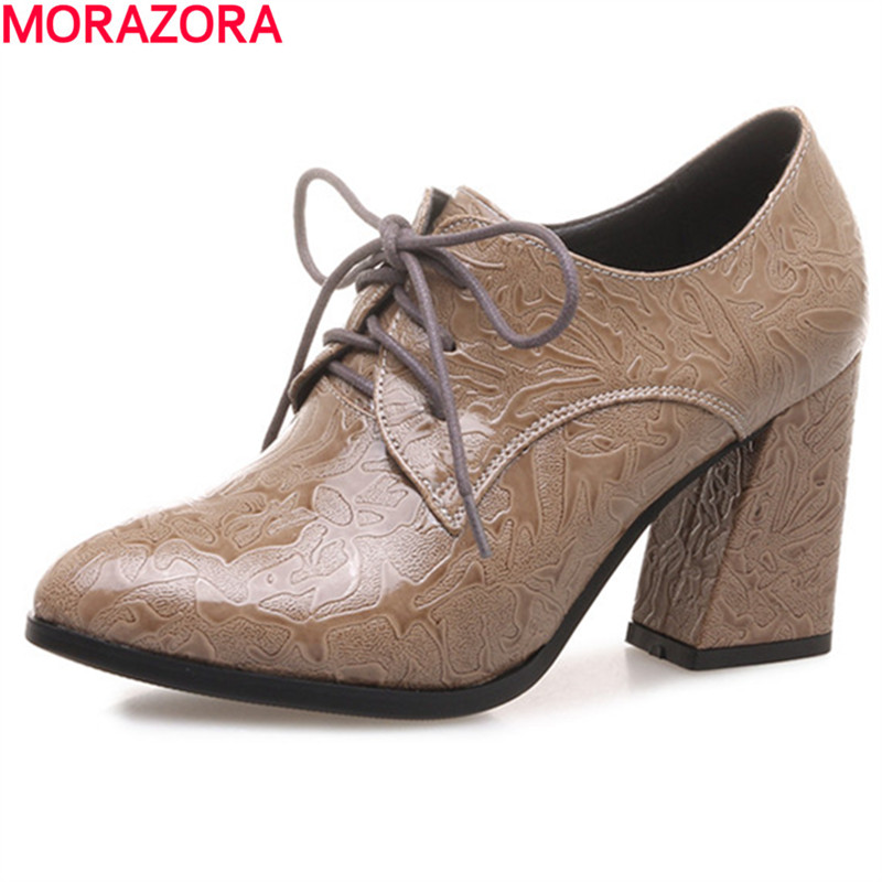 MORAZORA hot sale new arrival Round toe square high heels women pumps leisure shoes fashion comfortable spring <br>