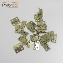 Probrico Wholesale 100 PCS Golden Finish Jewelry Box Hinges 18mm*19mm Brushed Brass Small Box Hinges CH34BB