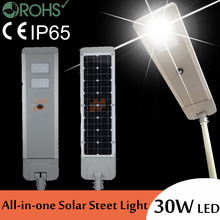 30W LED All-in-one solar street light with infrared sensor brightness sub-regulation 60W solar panel 24AH battery(China)