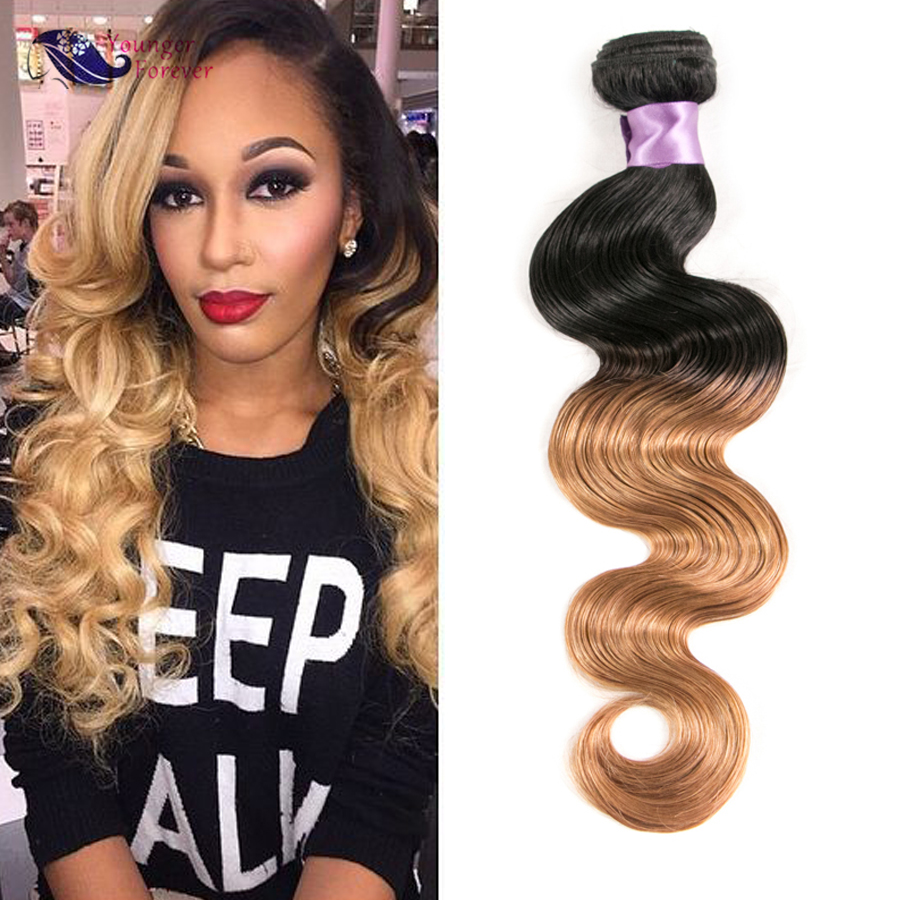 Ombre 1b 27 Colored Brazilian Hair Two Tone Brazilian Body Wave Hair Weave Bundles Ombre Blonde Human Hair Extension<br><br>Aliexpress