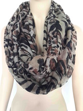 Fashion Animal Leopard Tiger Print Infinity Loop Cowl Scarf Women's Accessories Gift, Free Shipping